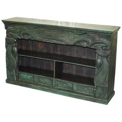 Old Rare Emerald Green Hand-Carved Chinese Sideboard Solid Teak Original Paint