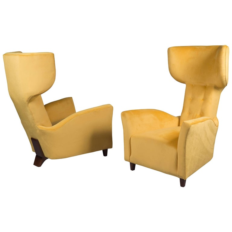 Pair of Large-Scale Wingback Chairs, Italy, 1960s