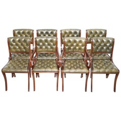 Eight Beresford & Hicks Chesterfield Green Leather Mahogany Dining Chairs