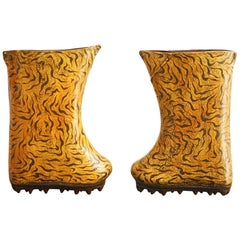 Pair of Chinese Leather Lacquered Boot Sculptures