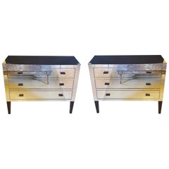 Pair of Hollywood Regency Custom Quality Mirrored Commodes or Nightstands