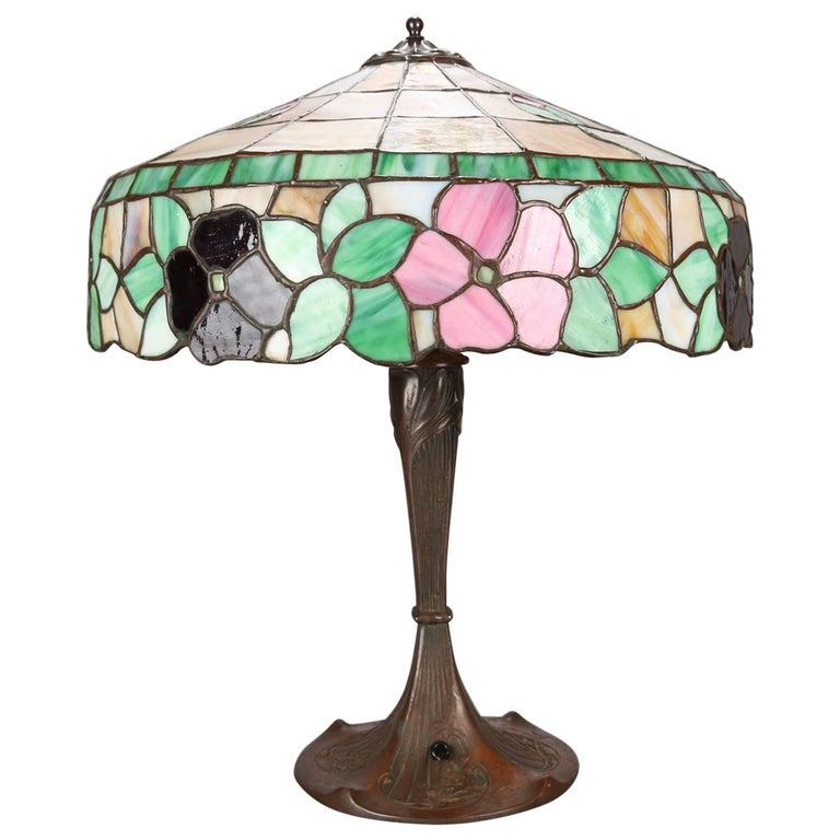 Arts & Crafts Floral Mosaic Slag Glass Three-Light Table Lamp, circa 1910