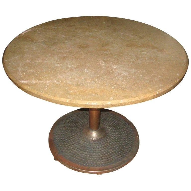 Midcentury Coppered Steel and Travertine Table