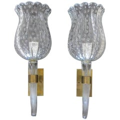 Barovier Murano Fluted Cup Clear Glass Wall Sconces