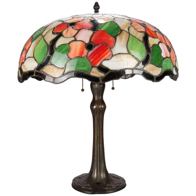 Arts & Crafts Leaded Mosaic Slag Glass Poppy Floral Table Lamp, circa 1910