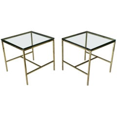 Pair of Brass and Glass Side or End Tables, circa 1970