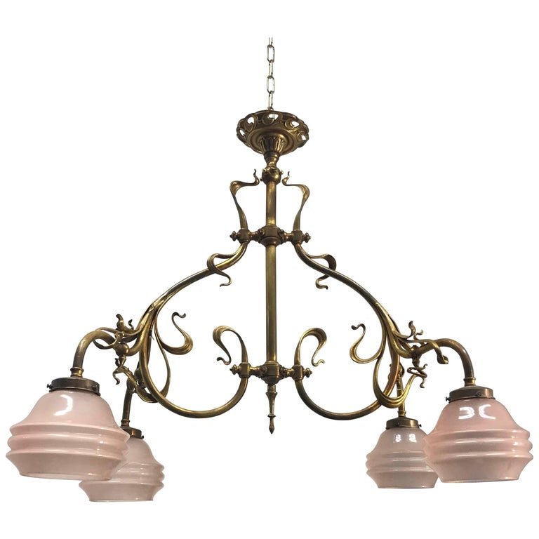Elegant Super Stylish Electrified Bronze And Brass Art Nouveau Gas Chandelier For