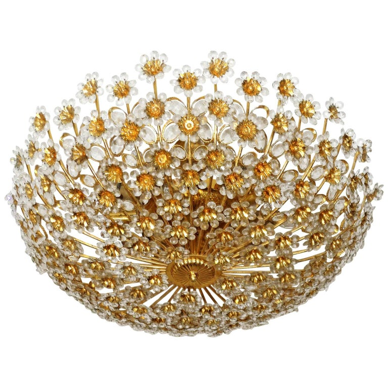 Monumental Gilt Sunburst Crystal Flower Palwa 15-Light Flush Mount Chandelier