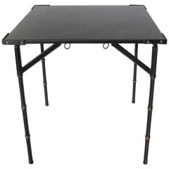 Jacques Adnet Folding Table Hand-Stitched Black Leather Bamboo Brass Design