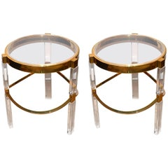 Pair of Charles Hollis Jones Lucite and Brass Side Tables 'Signed'