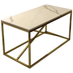 Striking Polished Brass and Marble Coffee Table x Base