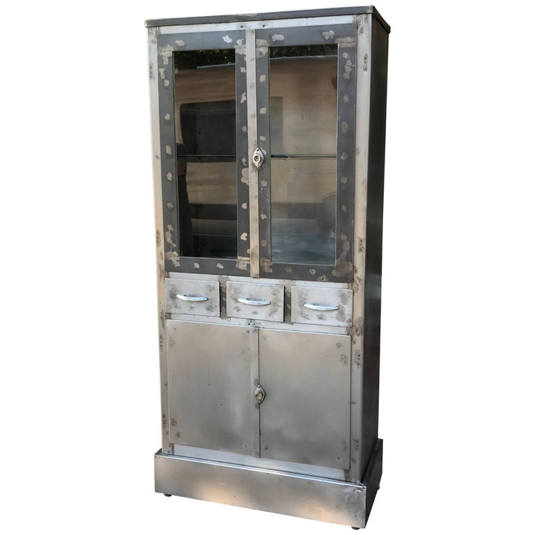 Art Deco Industrial Brushed Steel Medical Apothecary Cabinet