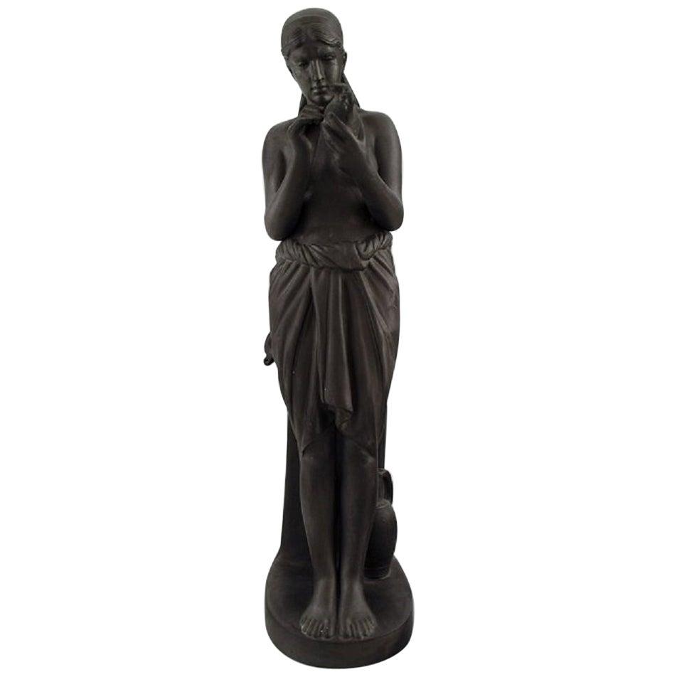L. Hjorth, Denmark, Rare Figure of Half-Naked Woman in Black Terracotta