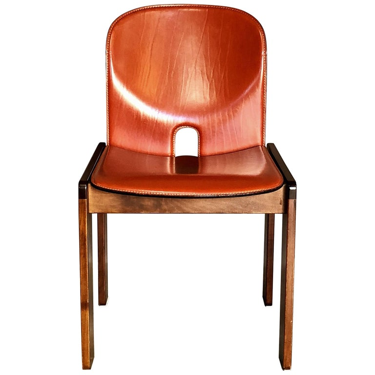 """Afra & Tobia Scarpa Midcentury Leather """"121"""" Dining Chair for Cassina, 1965"""