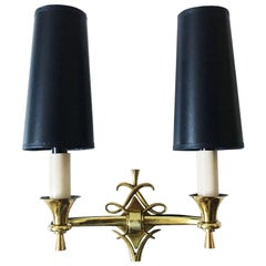 1940s Bronze French Sconces in the Style of Jules Leleu