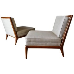Pair of Walnut Frame Slipper Chairs, circa 1965
