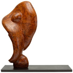 Mounted Abstract Sculpture in Bird's-Eye Mahogany