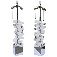 Midcentury Stacked Lucite Lamps Having Chrome Bases, a Pair