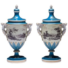 Dresden Urn Lakeside Scene, Purple, Green, Gilt, Angel Handles