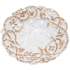Antique Meissen White Porcelain Plate or Centrepiece with High Gold Relief