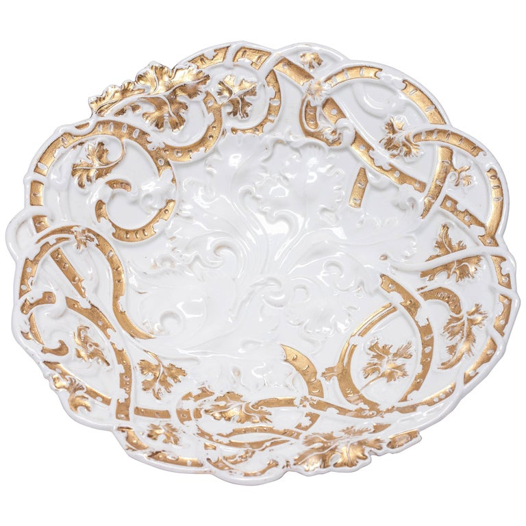 Antique Meissen White Porcelain Plate or Centrepiece with High Gold Relief For Sale