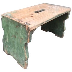 19th Century Hungarian Milking Stool Retaining the Original Green Paint
