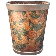 Dutch Embossed and Painted Leather Trash Can