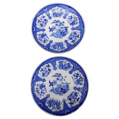 """Pair of 19th Century Dutch Blue and White Transfer Ware Plates """"Bern"""" Pattern"""