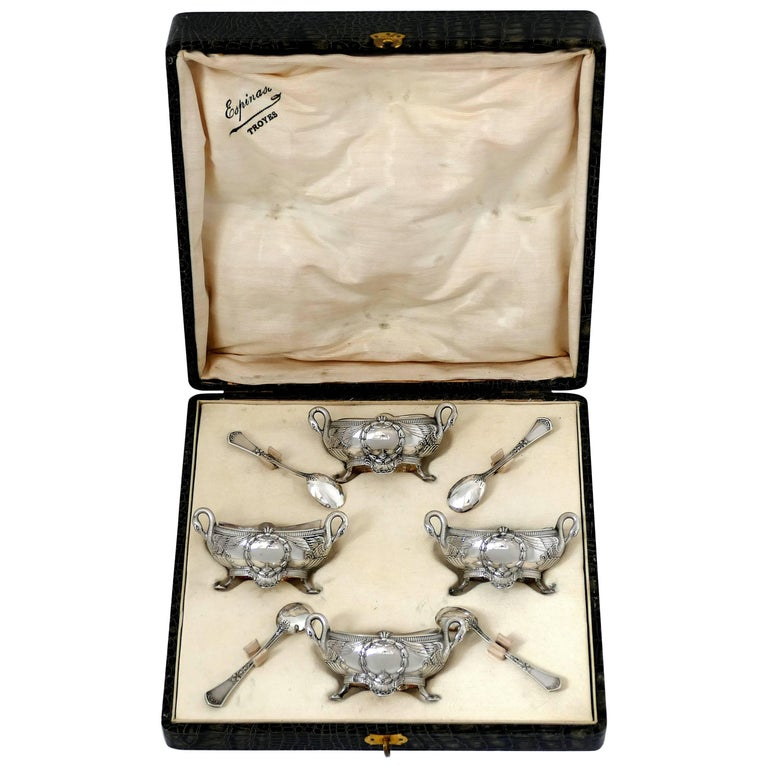Soufflot French Sterling Silver Four Salt Cellars, Spoons, Box, Swans