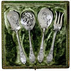 Doutre Roussel French All Sterling Silver Dessert Set 4 Pc, Box, Art Nouveau