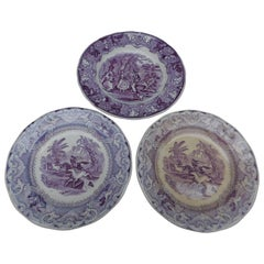 Group of Three 19th Century Dutch Purple and White Transfer Ware Plates