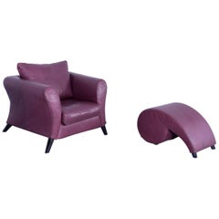COR Designer Armchair with Footstool in Aubergine Winred Leather from Germany