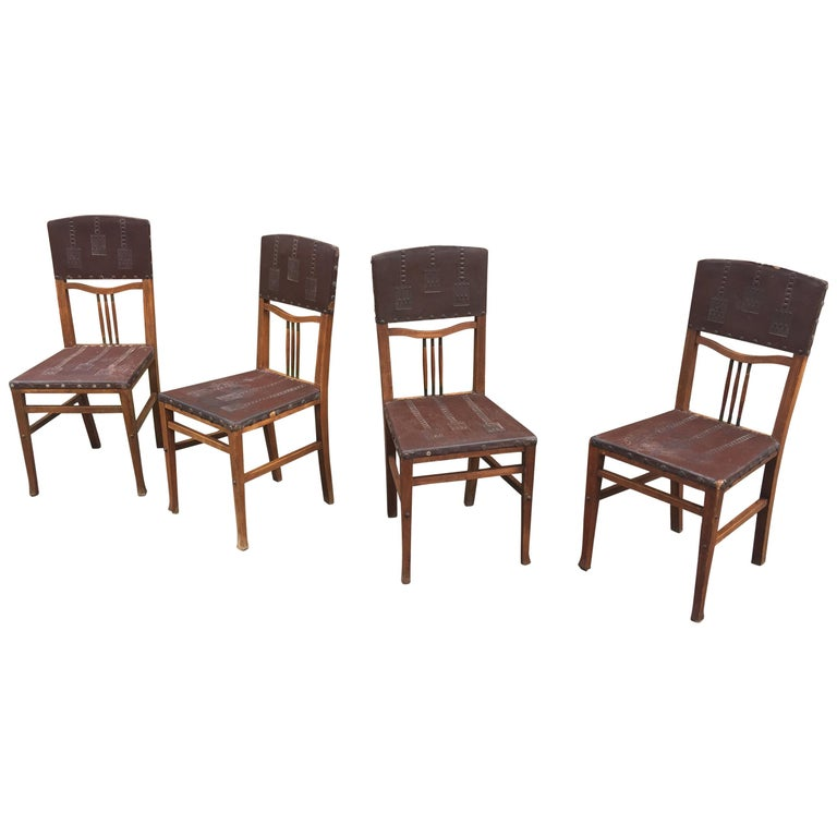 4 Chairs Art Nouveau Period Secession Wien Style, circa 1900 For Sale