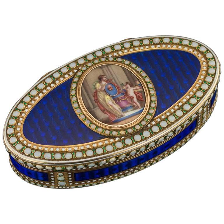Antique German 18-Karat Gold and Hand-Painted Enamel Snuff Box, circa 1780