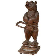 Large Black Forest Carved Bear Stick Stand, circa 1880