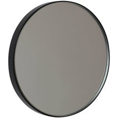 Silver Orbis Round Mirror with Black Frame - Dia 40cm