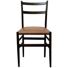 "Gio Ponti Midcentury Ashwood and Skai ""Leggera"" Dining Chair for Cassina, 1950s"