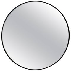Silver Orbis Round Mirror with Black Frame - Diam. 50cm