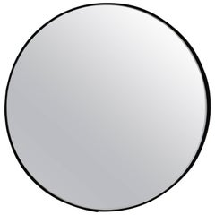 Silver Orbis Round Mirror with Black Frame - Diam. 60cm