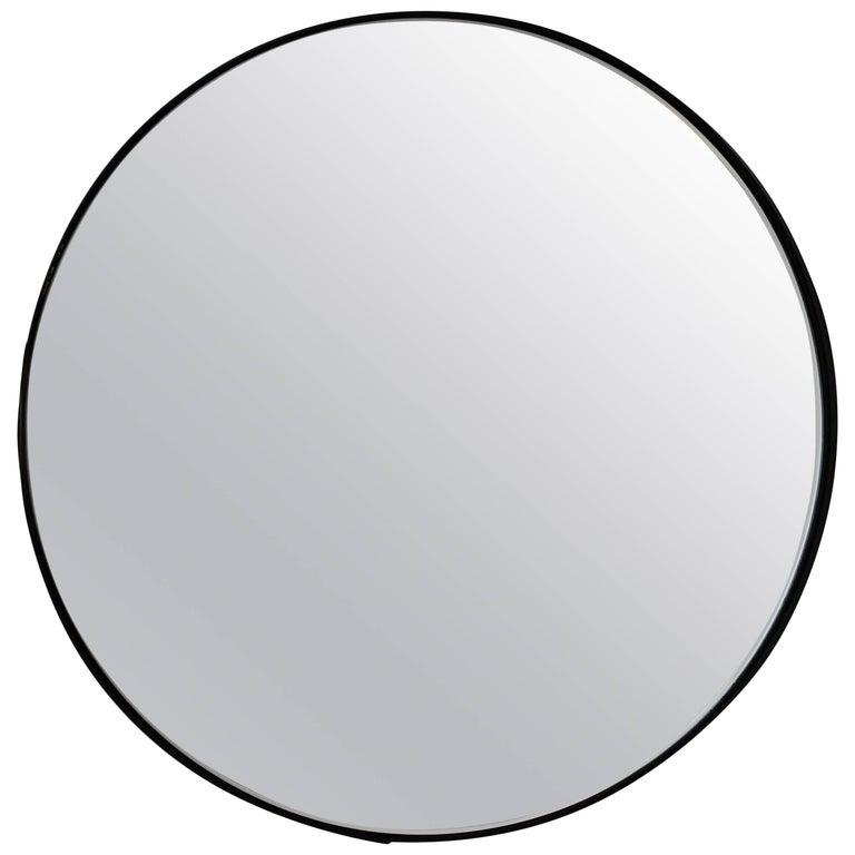 Silver Orbis Round Mirror with Black Frame - Diam. 60cm