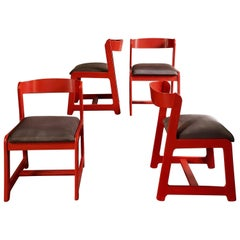 Willy Rizzo Midcentury Coral Red Beechwood with Brown Cotton Seat Chairs, 1970s