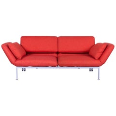 Brühl & Sippold Roro Designer Bed Sofa in Red Orange Fabric with Great Functions