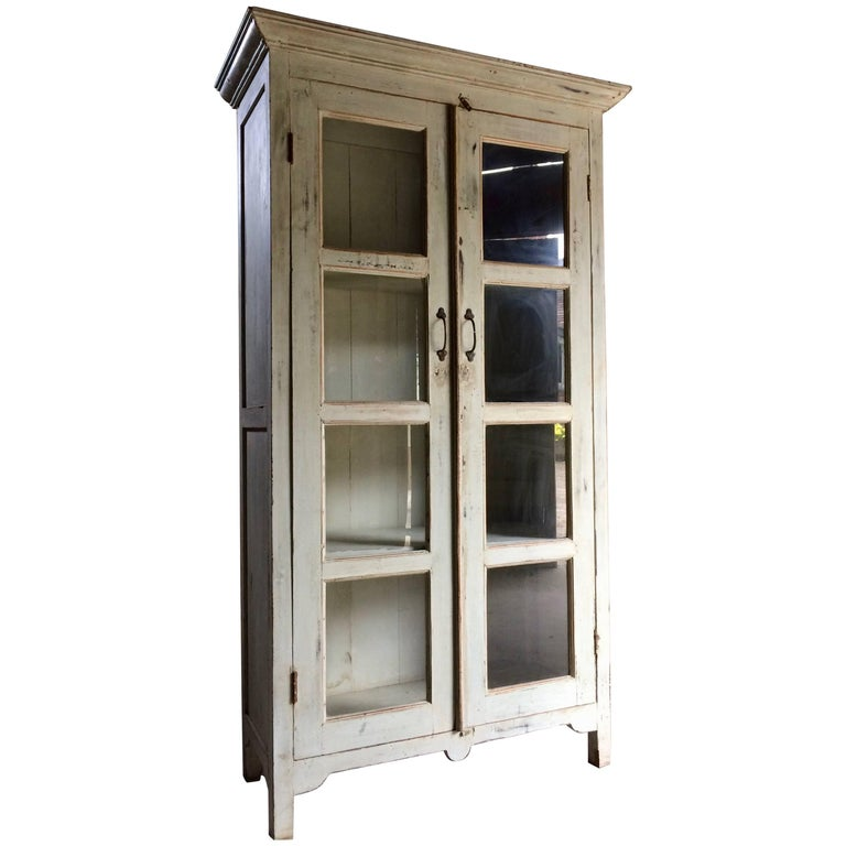 French Bookcase Display Cabinet Vitrine Antique Painted Distressed