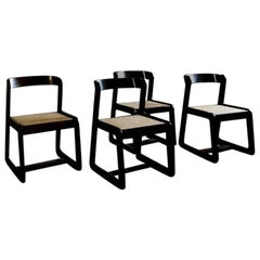 Willy Rizzo Midcentury Brown Beechwood with Wien Straw Seat Chairs, 1970s