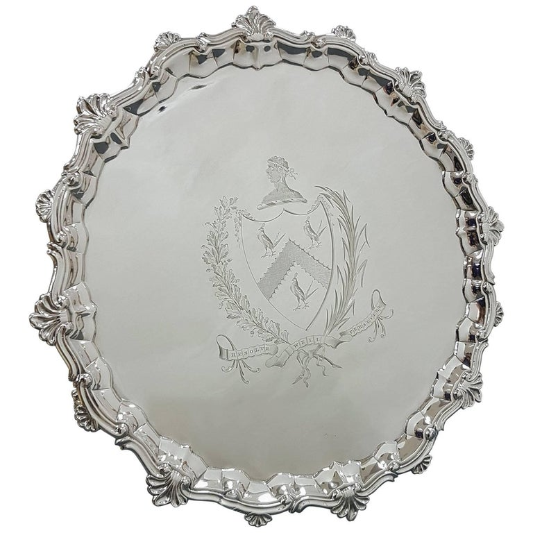 18th Century Large Georgian Sterling Silver Salver with Engraved Coat Arms
