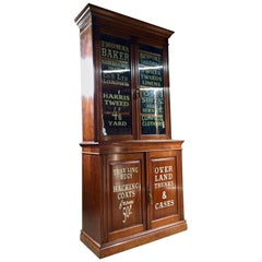 Antique Mahogany Bookcase Display Cabinet Edwardian Haberdashery