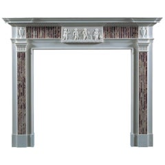 Jamb Four Seasons Fireplace in White Statuary Marble Inlaid with Jasper