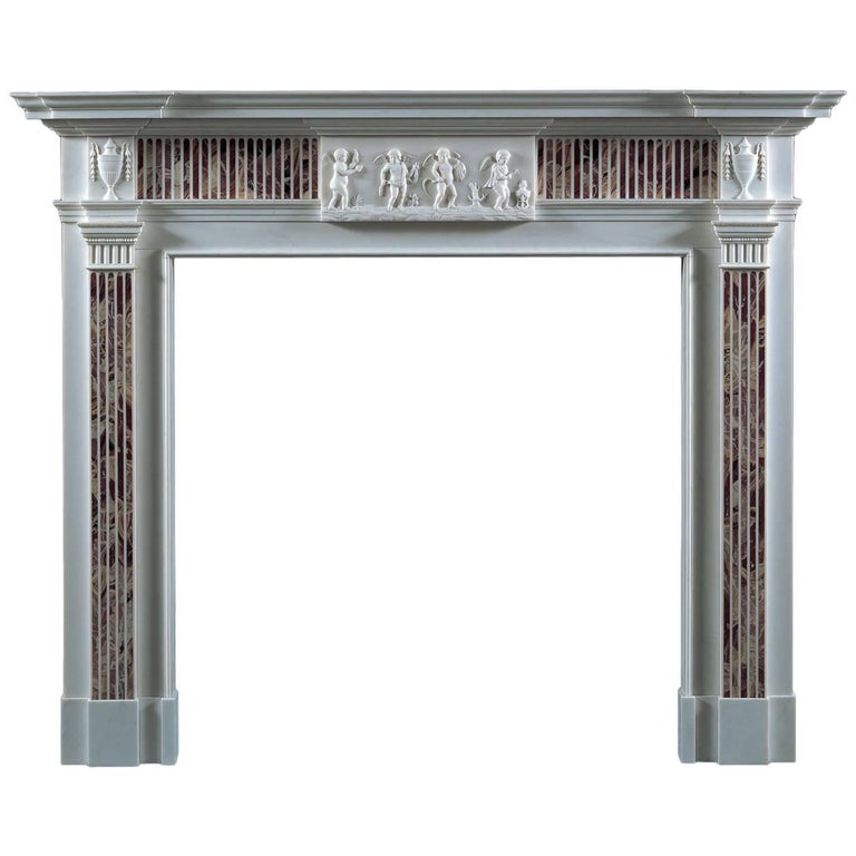 Jamb Four Seasons Fireplace in White Statuary Marble Inlaid with Jasper For Sale