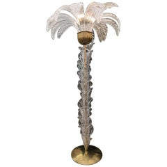 Murano Glass Palm Tree Floor Lamp, Clear Glass Leaves Brass Fittings, 1970s