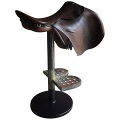 Industrial Bar Stool Horse Saddle Equestrian Interest Loft Design